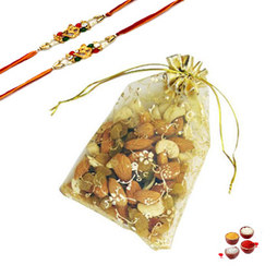 Mixed Dry Fruits Pouch with Rakhi
