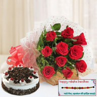 Blackforest Cake and  Red Roses with Rakhi