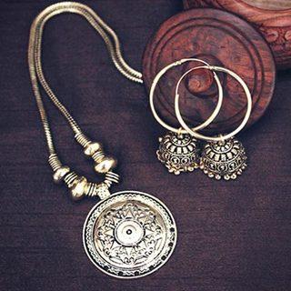 German Silver Golden String Necklace Set