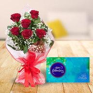 Red Roses with Cadbury Celebration