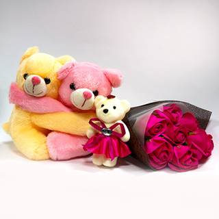 Teddy Family with Roses