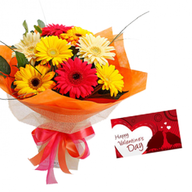 Valentine Mixed Gerberas and Card