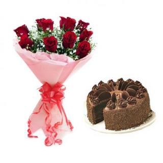 Valentine Roses & Choco Cake