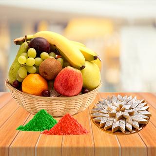 Fresh Fruits Basket and Kaju Katli with Free Gulal