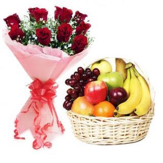 Roses with Fresh Fruit Basket