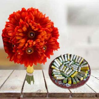 Orange Gerbera With Kaju Roll