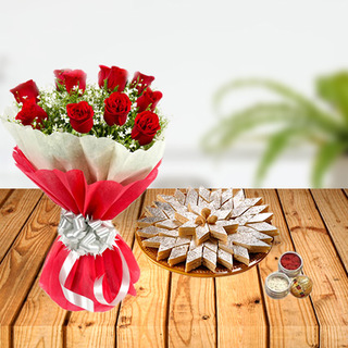 Dussehra Flower and Sweets Tikka Combo