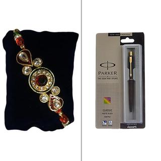 Fancy Kundan Rakhi with Parker Pen