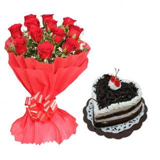Valentine Red Roses & Heart Shape Black Forest Cake