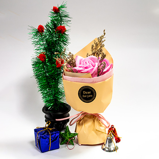 Christmas Tree with Flower Bouquet
