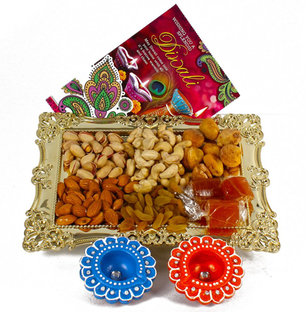 Exquisite Diwali Tray with Card, Diya