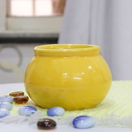 Handi Shape Round Ceramic Pot (Yellow)