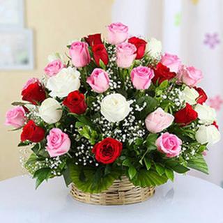 Valentine 50 Mixed Roses Basket