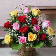 Valentine Mixed Roses Basket