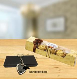 Photo Keychain and Chocolate combo
