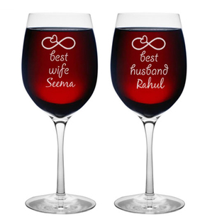 Personalised Best Couple Wine Glasses