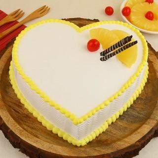 Exclusive Heart Shape Pineapple Cream Cake