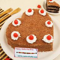Fresh Heart Shape Black Forest Cake with Rakhi