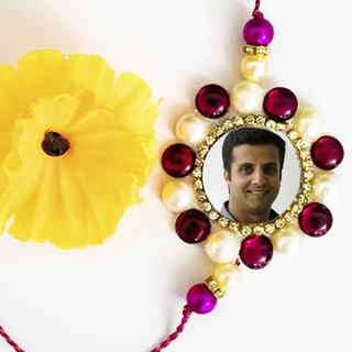 Floral Colorful Bead Photo Rakhi