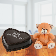 Valentine Chocolate Heart Cake and Teddy Bear