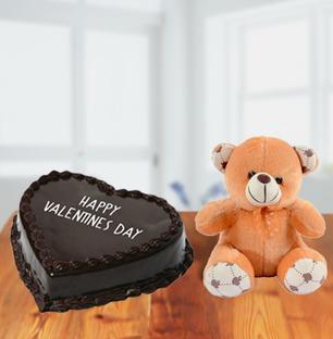 Valentine Chocolate Heart Cake and Teddy Bear