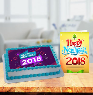 New Year Photo Cake with New Year Greeting Card