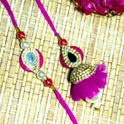 Jewels and Stone Rakhi Lumba Set