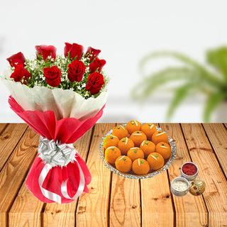 Dussehra Flower and Laddoo Tikka Combo