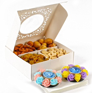 Assorted Dryfruit with Classy Pair of Floating Diyas