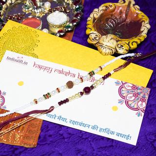 Rudrakh & Stone Rakhi Set
