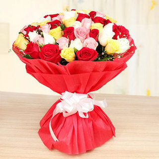 Valentine 50 Mixed Roses Bouquet Large