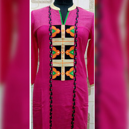 Pink Kurti with Embroidery Panel