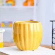 Vertical Ridges Pattern Round Ceramic Pot (Yellow)