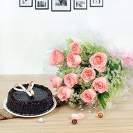 Fresh Cake with Pink Roses Combo
