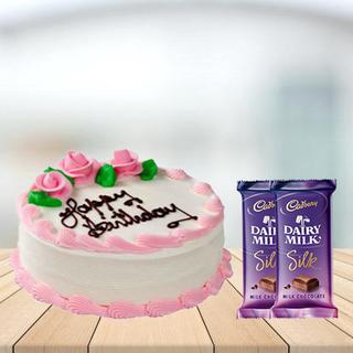 Strawberry Cake with Cadbury Silk Combo