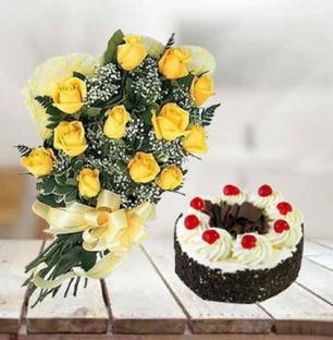 Black Forest Cake & Yellow Roses