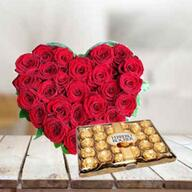 Roses Heart with Ferrero Rocher