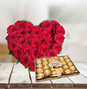 Roses Heart with Ferrero Rocher