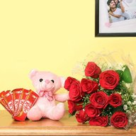 Beary Red roses with chocolate Combo