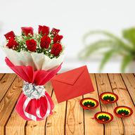 Diwali Red Roses with Greeting Card & Diya