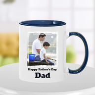 Blue Happy Fathers Day Photo Mug