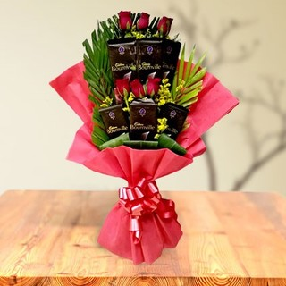 Valentine Red Roses and Bournville Chocolate Bouquet