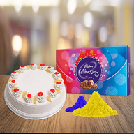 Pineapple Cake and Celebration Chocolate with Free Gulal