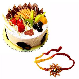 Fresh Fruit Cake with Rakhi