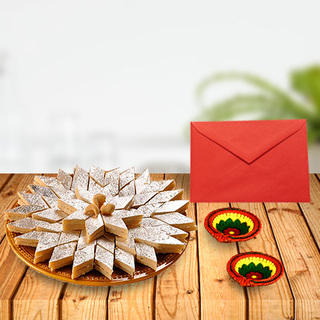 Kaju Barfi With Diyas & Card