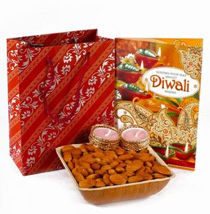 Diwali Gift Bag of Almonds Bowl with Diwali Greeting Card and 2 Diyas