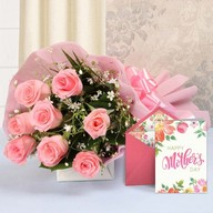 Mothers Day Pinky Roses and Card