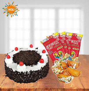 Cake with Gujiya and Holi Colors