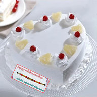 Fresh Heart Pineapple Cake with Rakhi