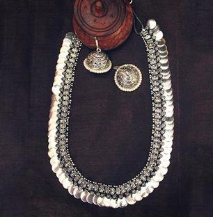 Long Silver Plain Coin Necklace Set